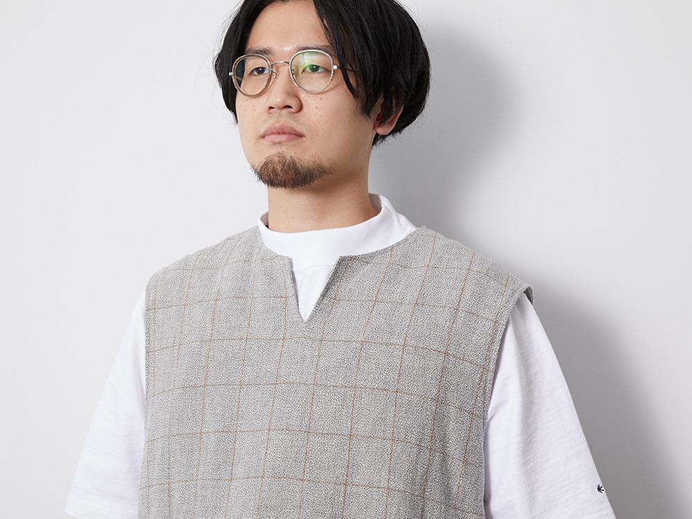 C/L Check Tweed Vest M Navy