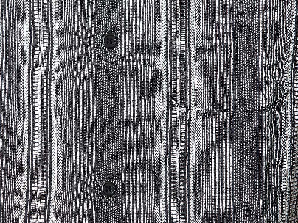 ワシ ストライプ オープンカラー シャツ L ブラック