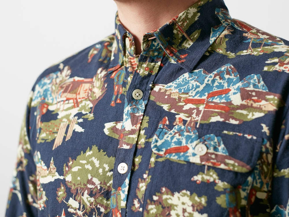 Mountain Printed Shirt M Navy6