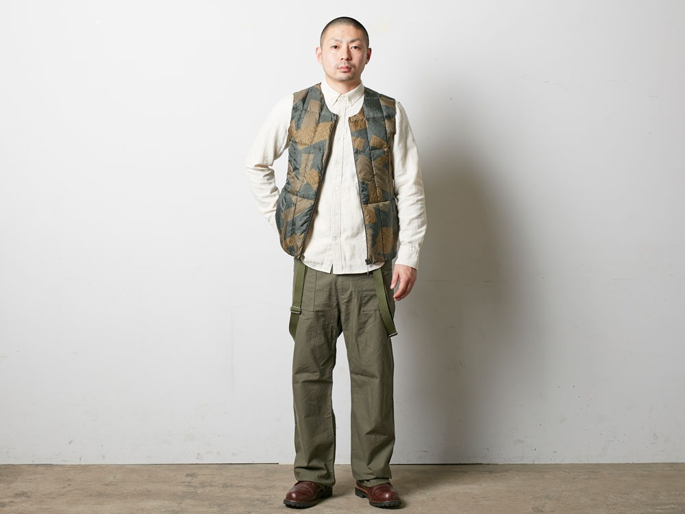 Printed Inner Down Vest L Brown1
