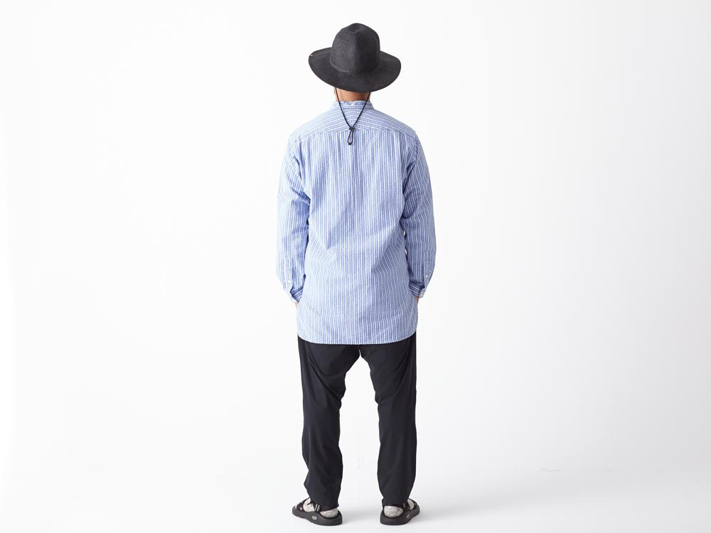Striped Long Shirt M White3