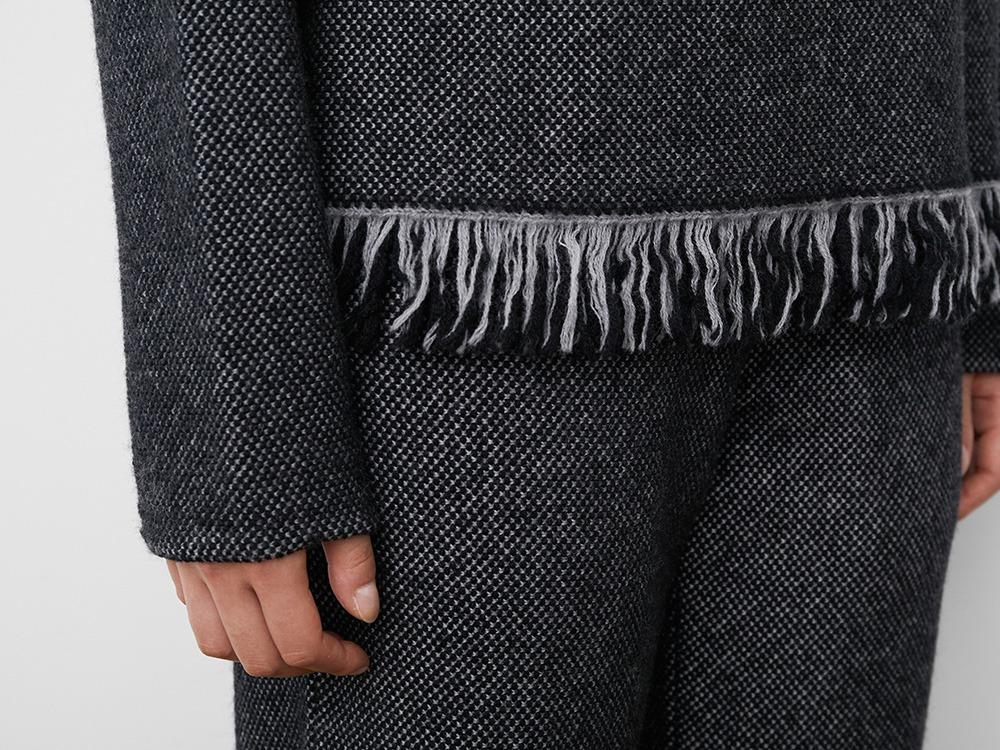 Fringe Knit Pullover 1 Grey