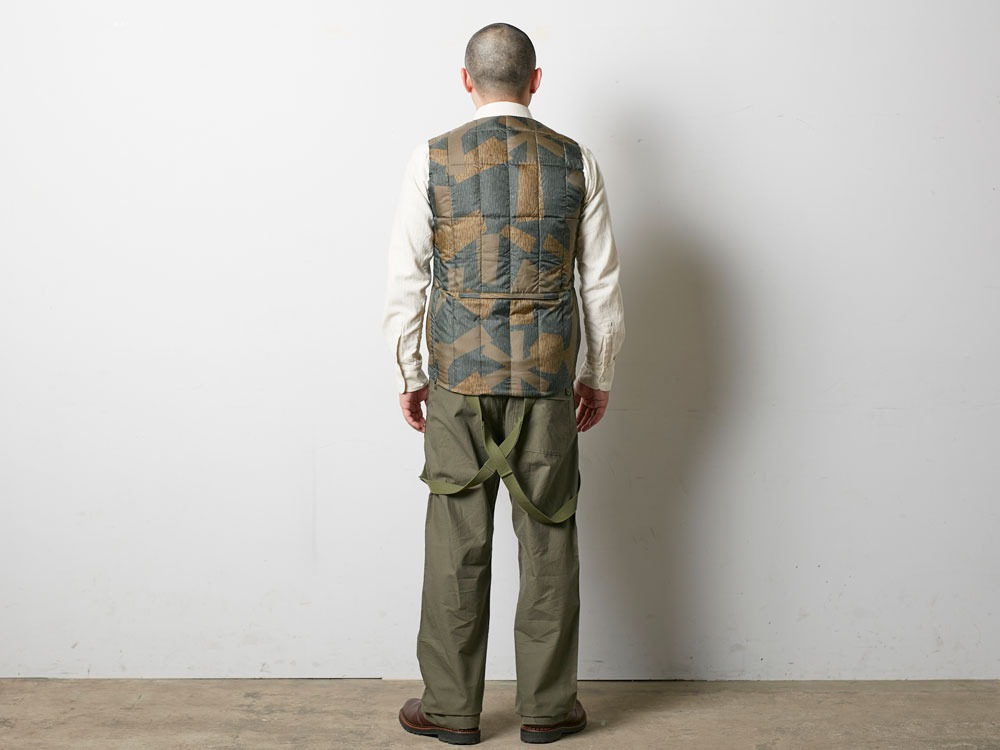 Printed Inner Down Vest L Brown3