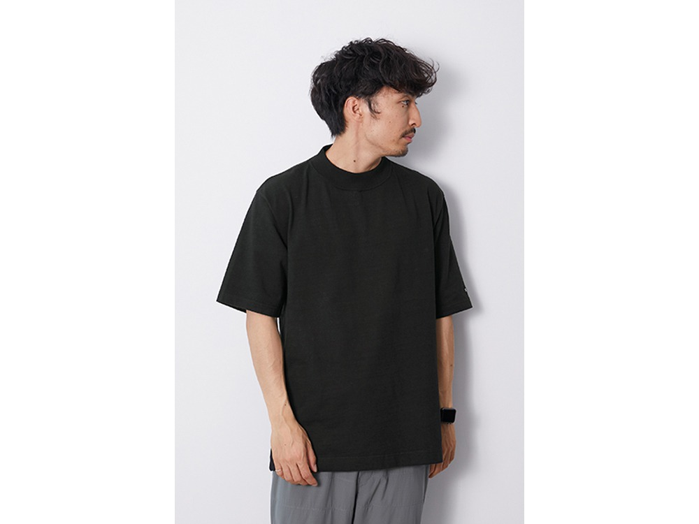 Heavy Cotton Mockneck Tshirt M Black