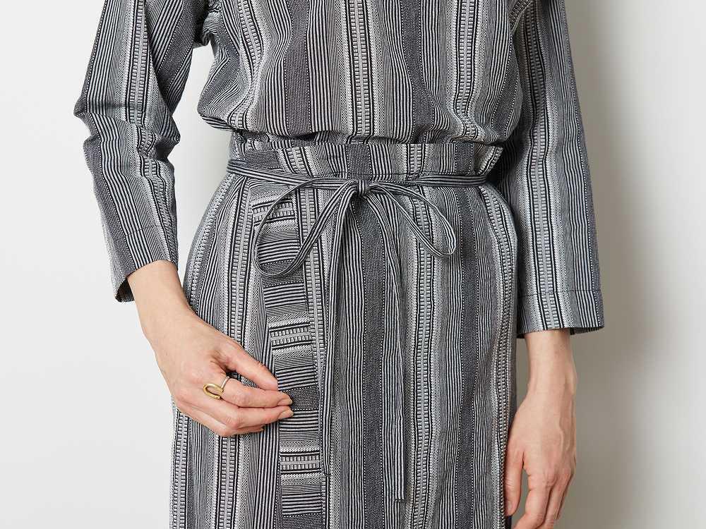 WASHI ストライプ ドレス 2 ブラウン