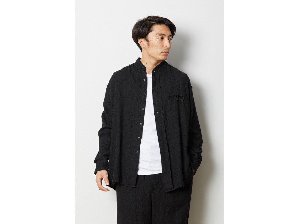 コットンリネン ドビーシャツ 1ブラック