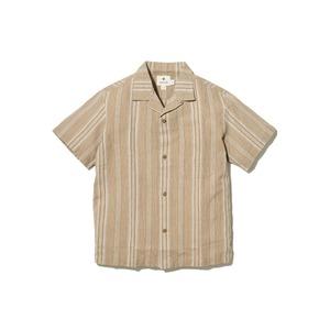 ワシ ストライプ オープンカラー シャツ