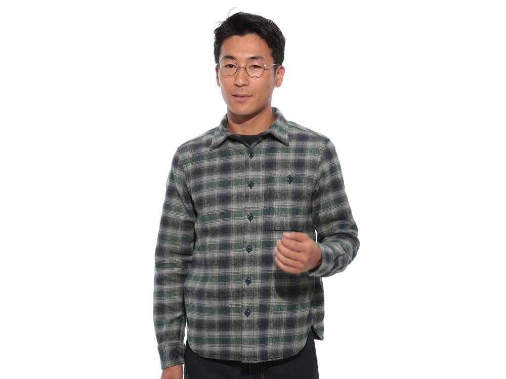 Hand-Dyed Heavy Flannel Check Shirt M Green2