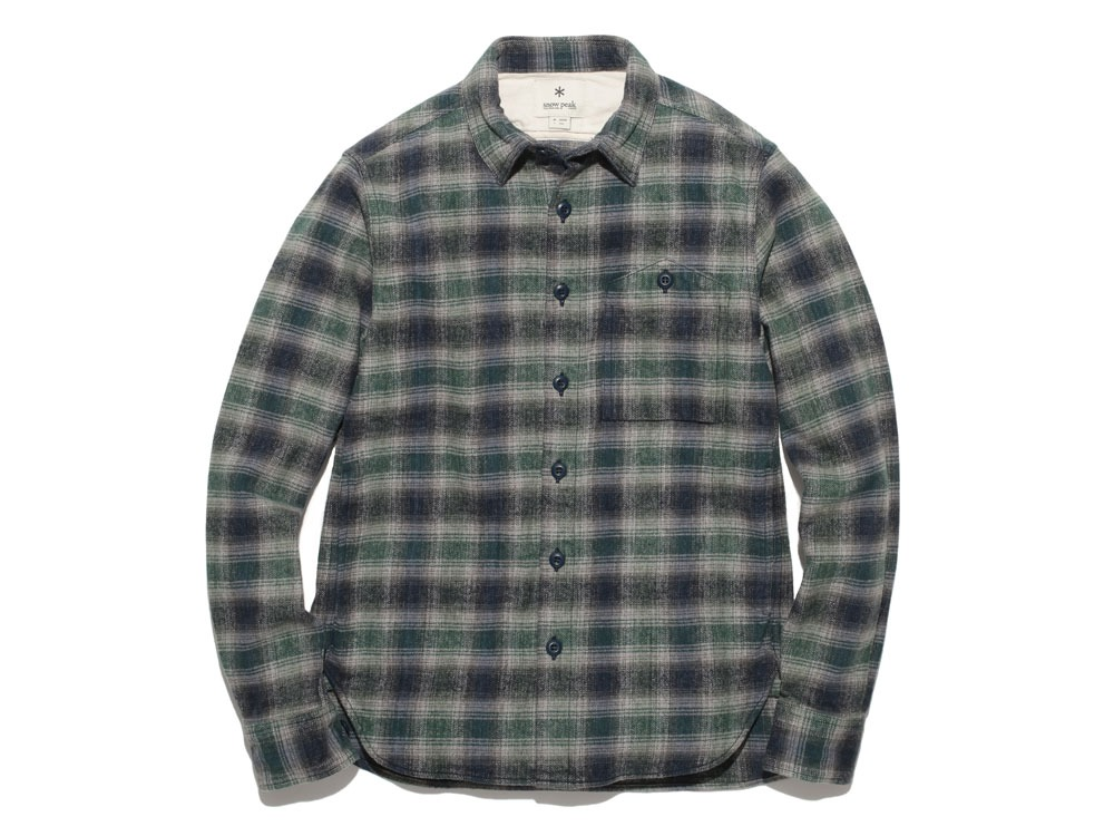 Hand-Dyed Heavy Flannel Check Shirt M Green0