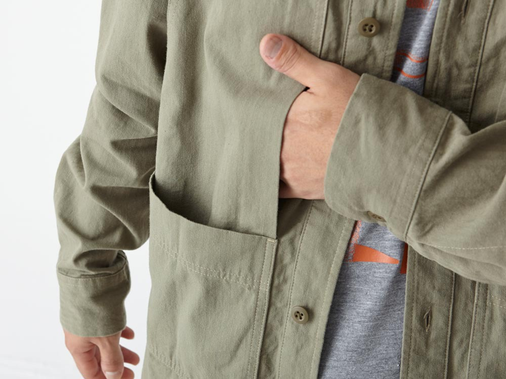 Herringbone Field Shirt M Olive4