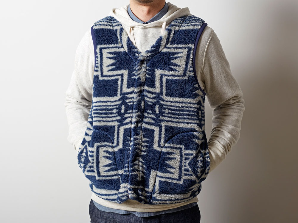 Printed Fleece Vest L Navy×Grey5