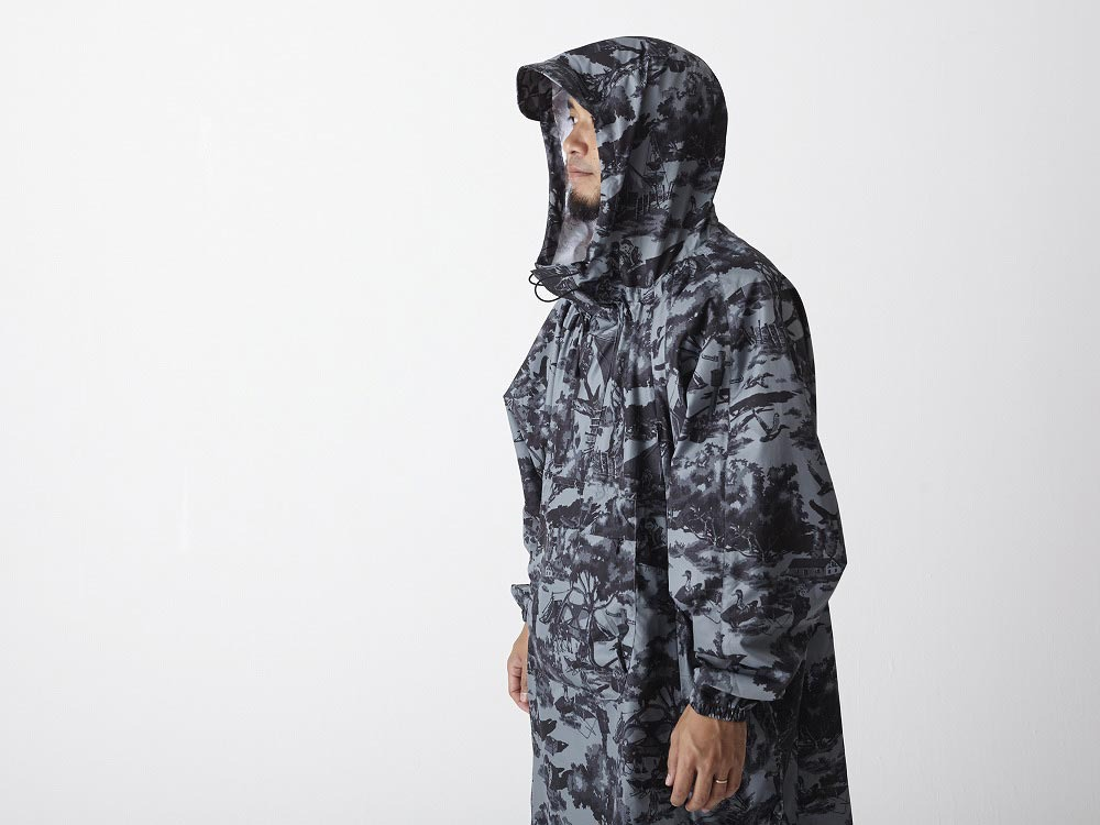 Printed Poncho:Camp Field 2 Olive4