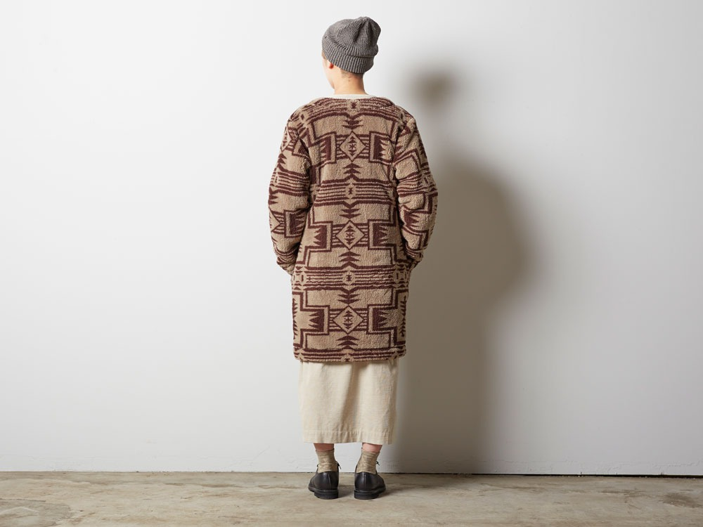 Printed Fleece W's Coat 4 Beige×Brown2