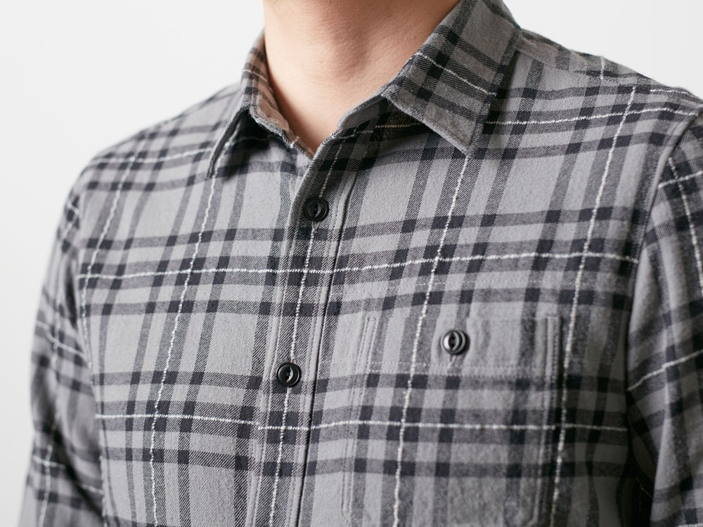 Check Flannel Shirt M Grey5