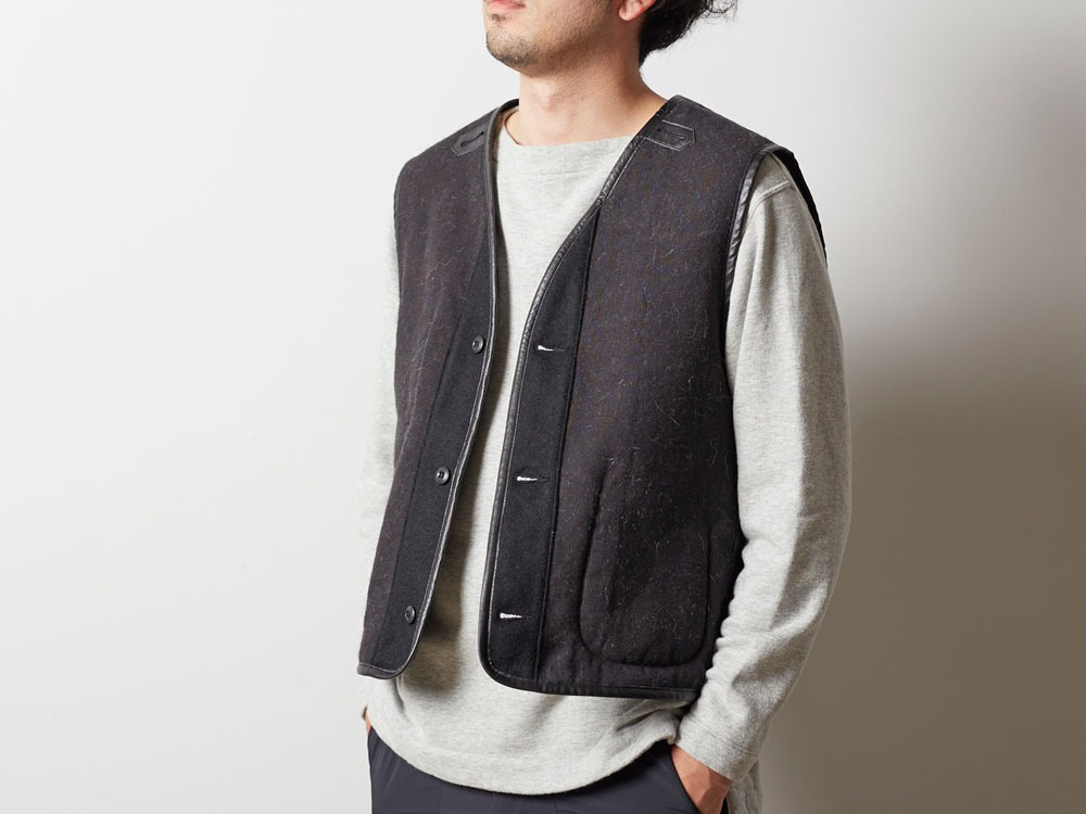 Wool Military Lining Vest S Brown5