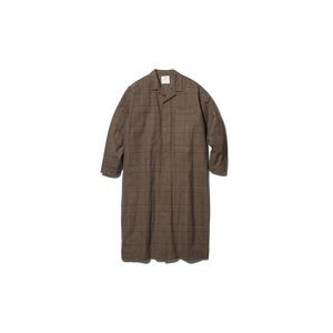 ナシジ ロングシャツジャケット グレンチェック