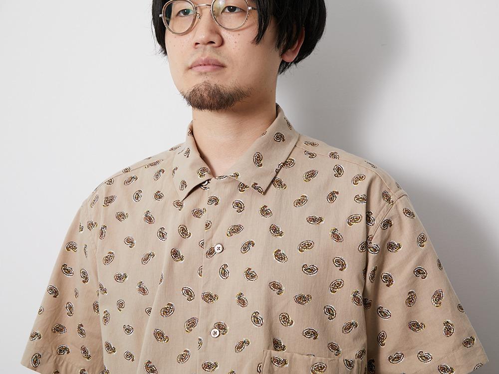 OG Cotton Poplin Paisley Shirt M Beige