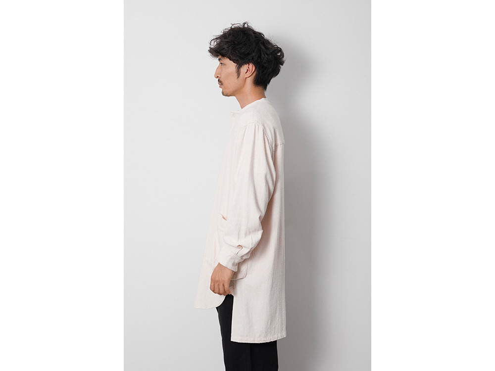 Cotton Silk Serge Long Shirt S Khaki