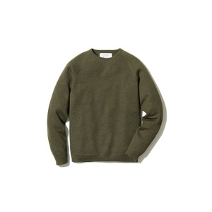 Raglan Crew Neck Knit Sweater L Khaki