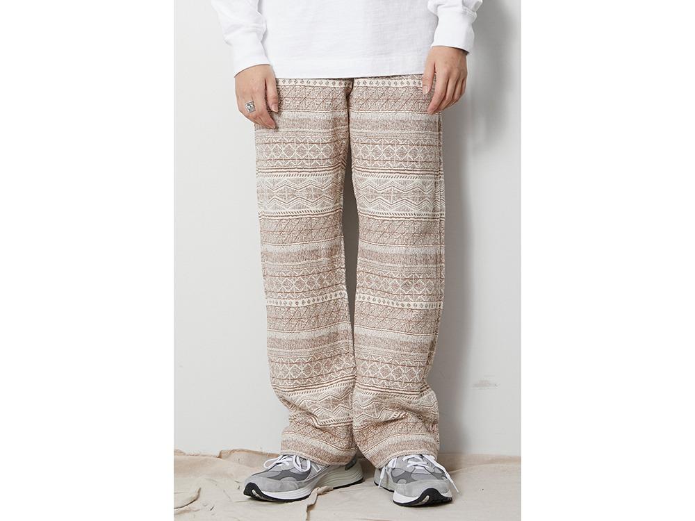 Cotton Silk Jacquard Easy Pants XL Ecru