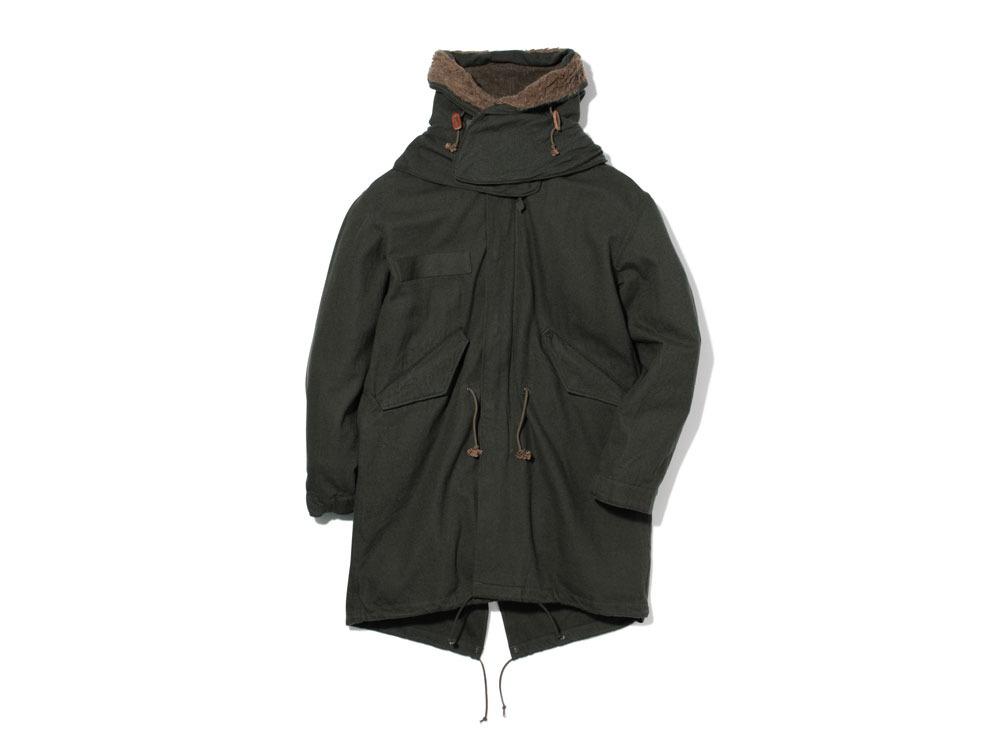 ウールミリタリーライニングコート S Olive0