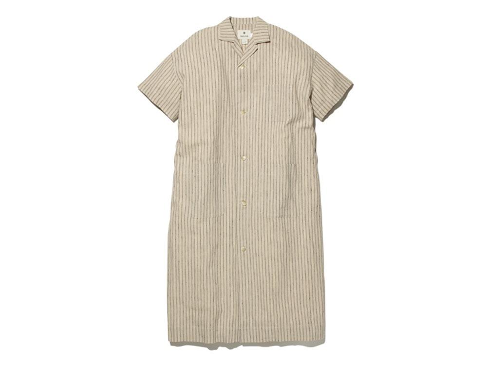コットンリネン ストライプ ロングシャツ M ナチュラル