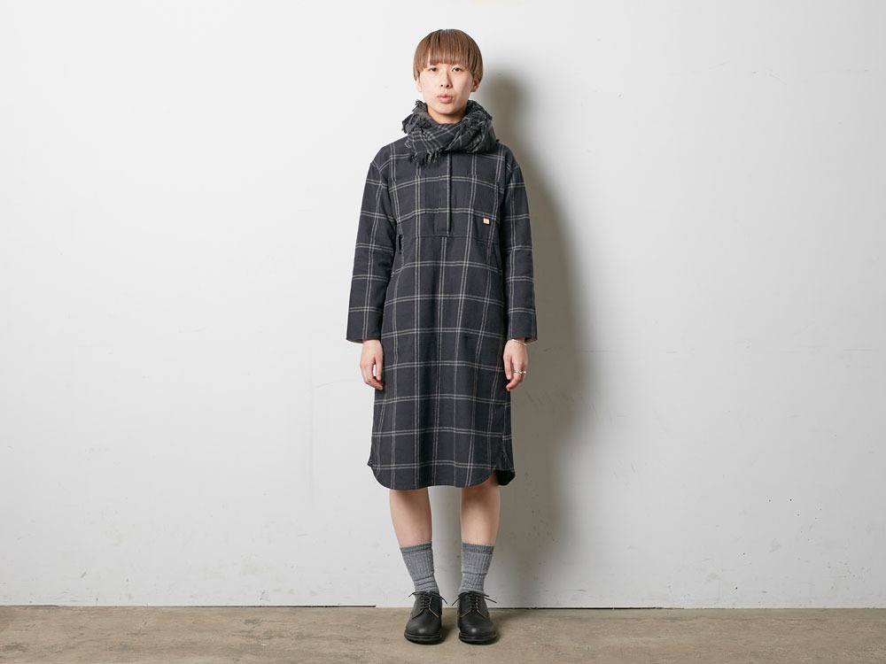 W's Check Heavy Flannel Dress 1 Black1