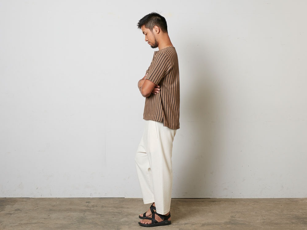 CottonLinenStripedPants XL Brown×Black2