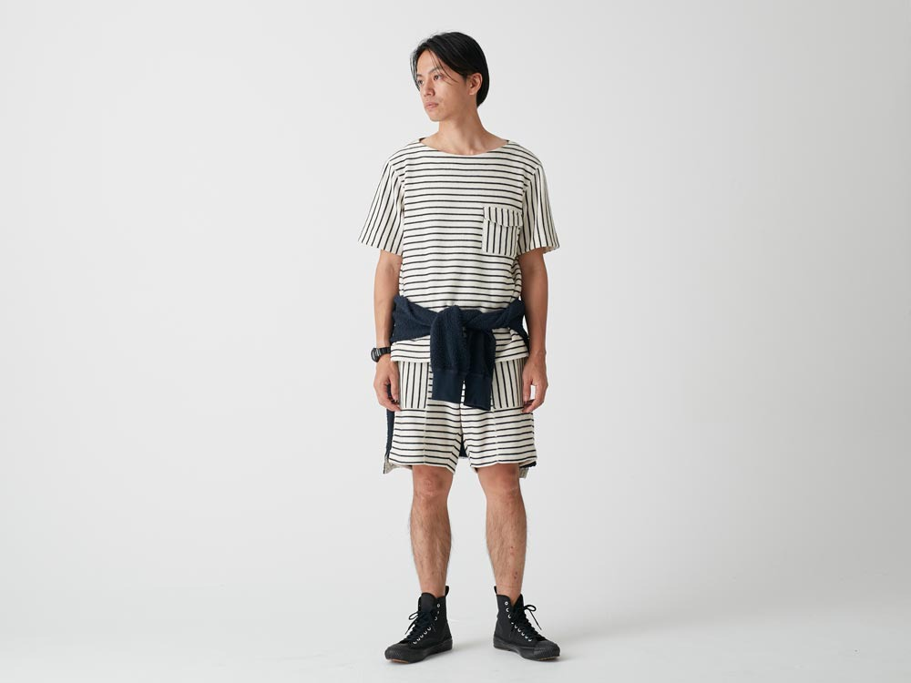 C/L Striped Shorts XL Navy x Ecru2
