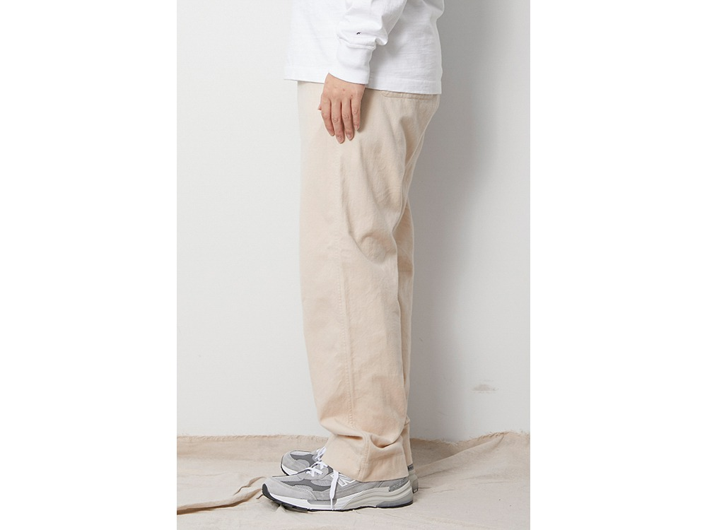 Organic Cotton Suede Easy Pants M Ecru