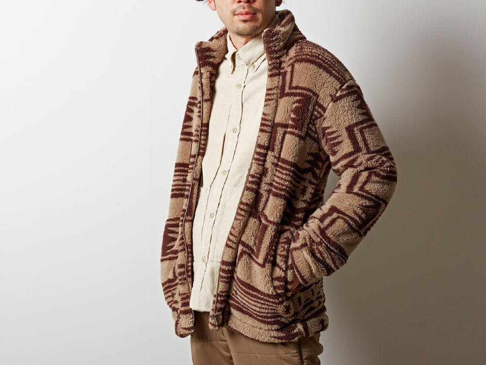 Printed Fleece Jacket M Beige×Brown3