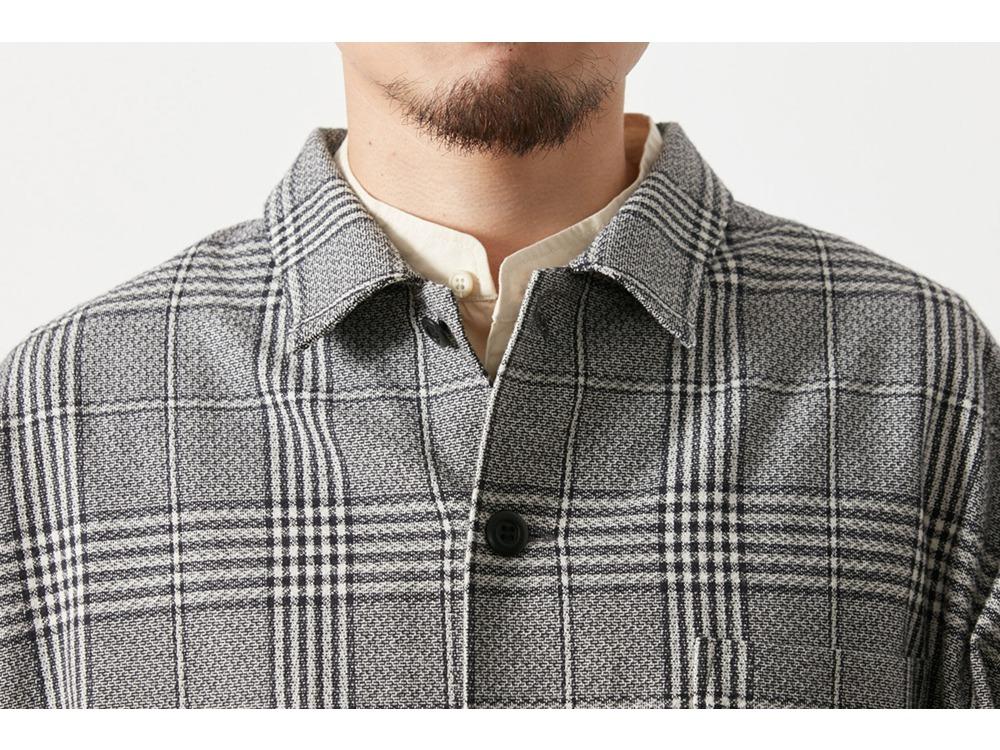 ナシジ ロングシャツジャケット グレンチェック  M BRBK