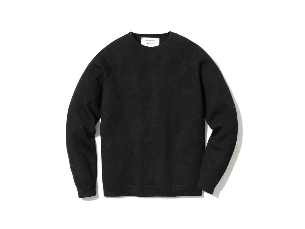 Raglan Crew Neck Knit Sweater M Black