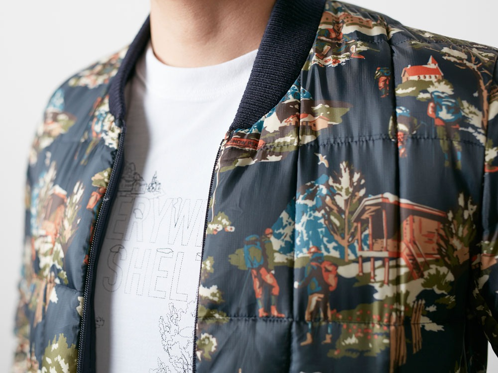 Printed Inner Down Jacket L Navy5