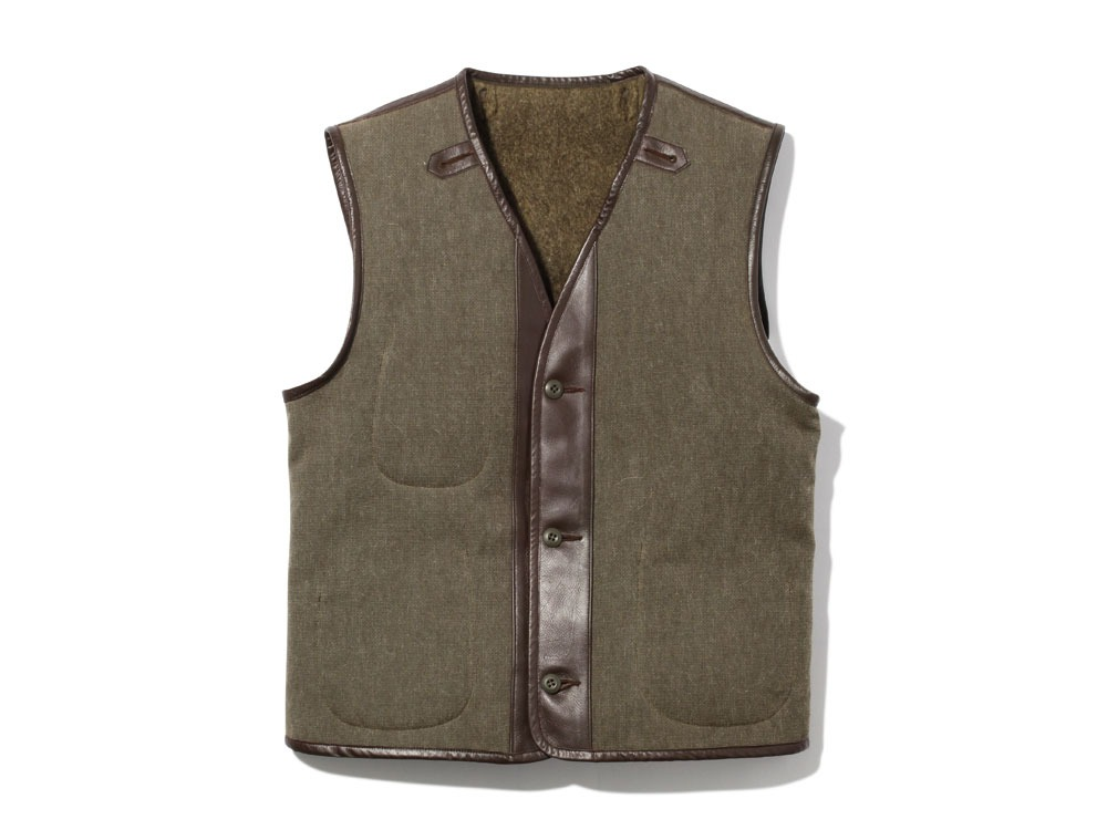Wool Military Lining Vest S Brown0