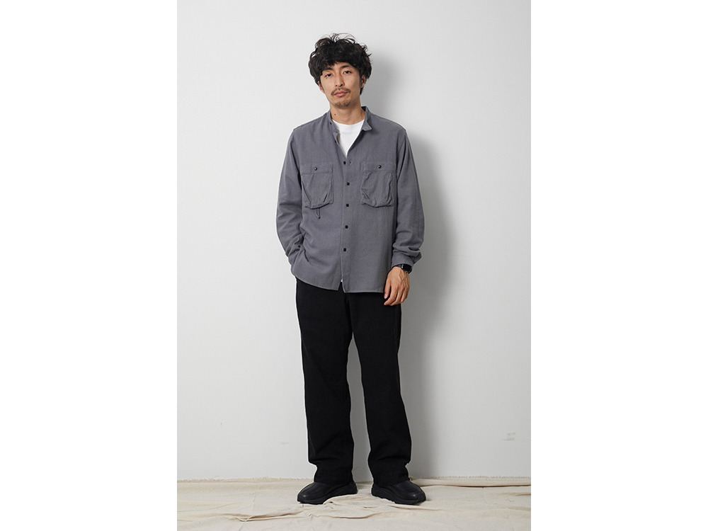 Cotton Silk Serge Shirt M Khaki