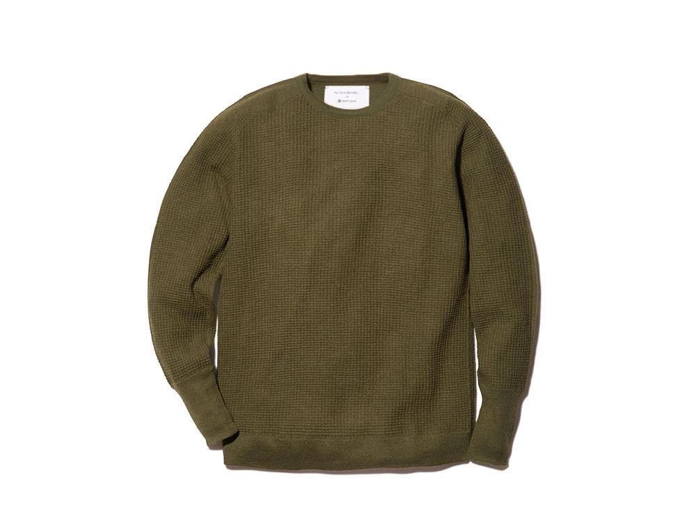 Waffle Crewneck Sweater M Khaki