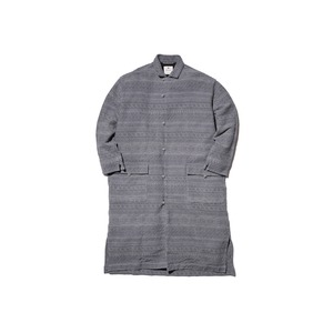 Cotton Silk Jacquard Coat S Grey