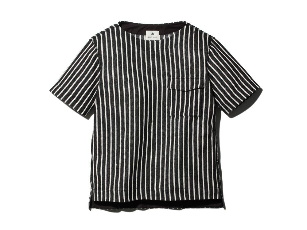 CottonLinenStripedTshirt S Black×Ecru0