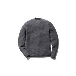 Waffle Mock Neck Sweater M Grey