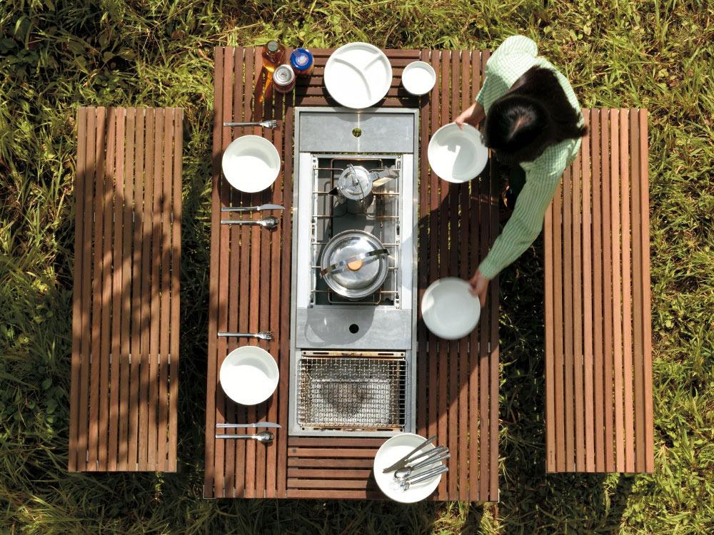 Garden Unit Table Wood Top Set7