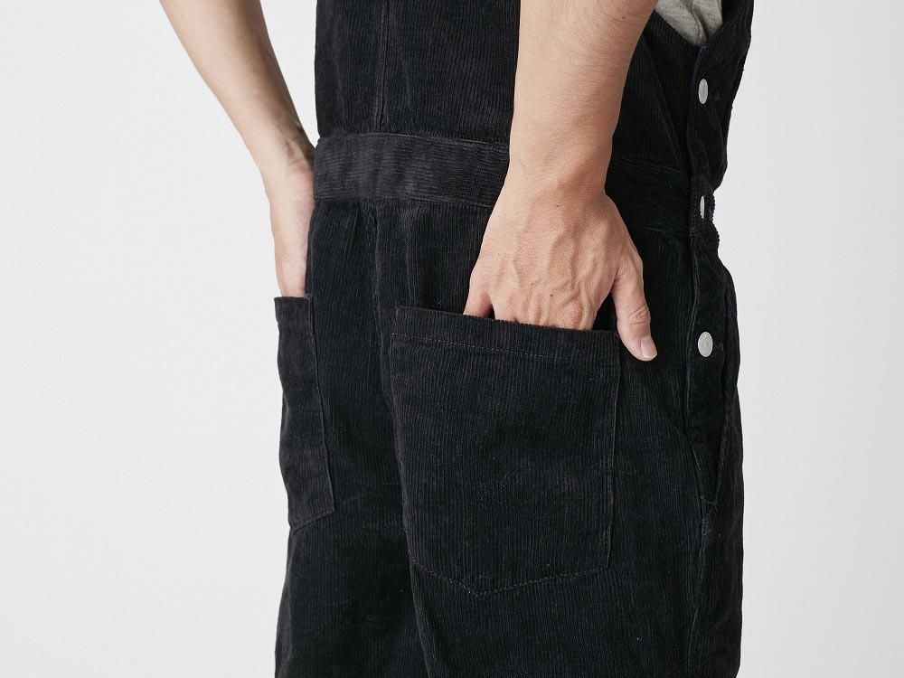 Linen corduroy overalls M Black7