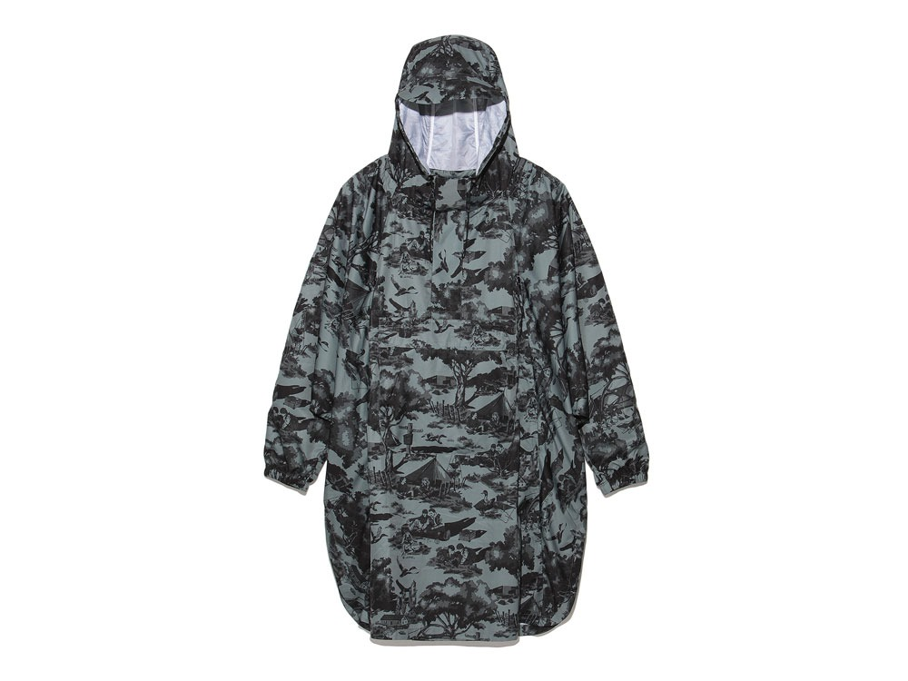 Printed Poncho:Camp Field 2 Olive0