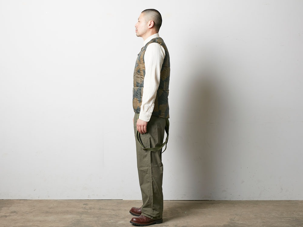 Printed Inner Down Vest L Brown2