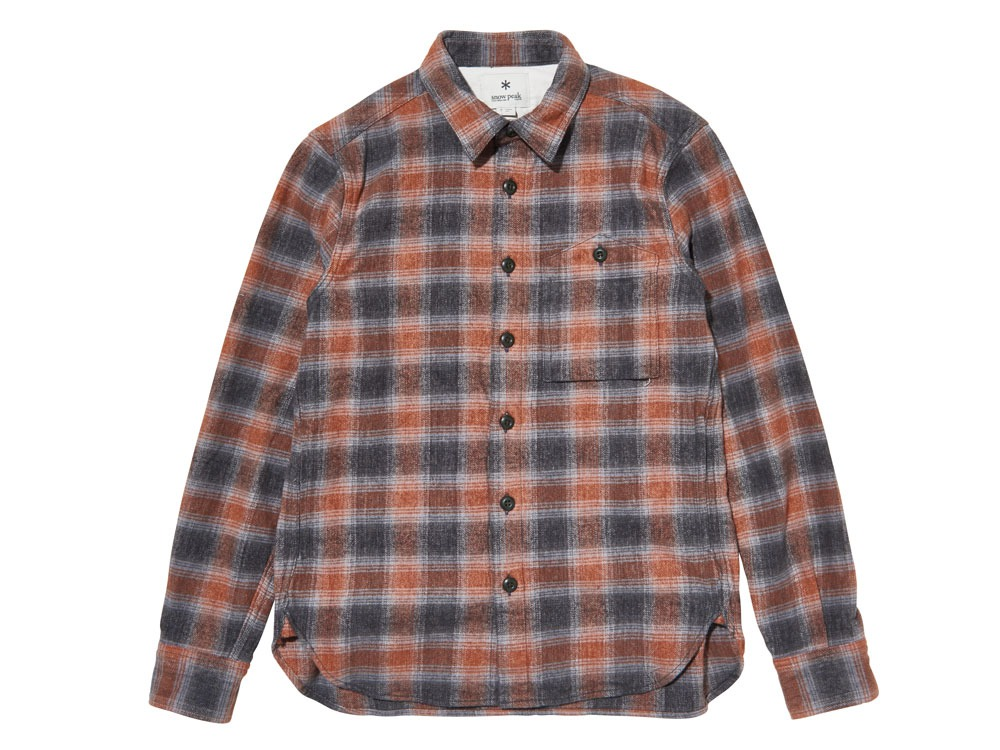 Hand-Dyed Heavy Flannel Check Shirt 2 Orange0