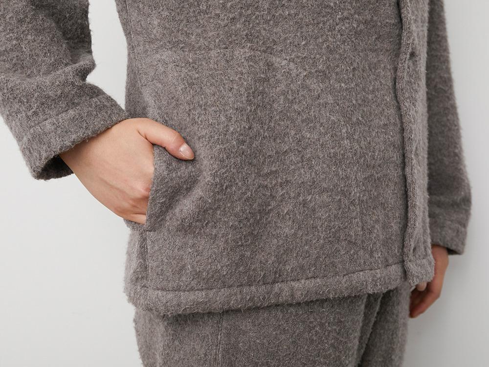 Yak Pile Cardigan 2 Grey