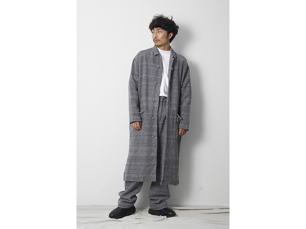 Cotton Silk Jacquard Coat L Grey