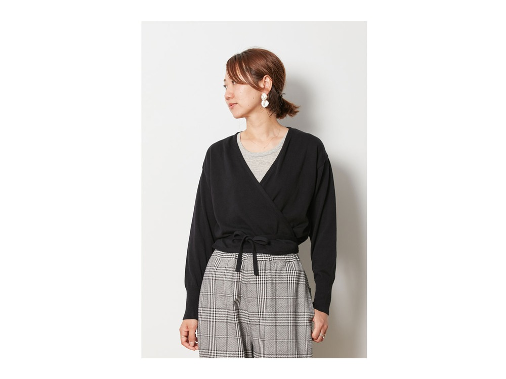 OG Cotton Cache-Coeur Cardigan 2 Black