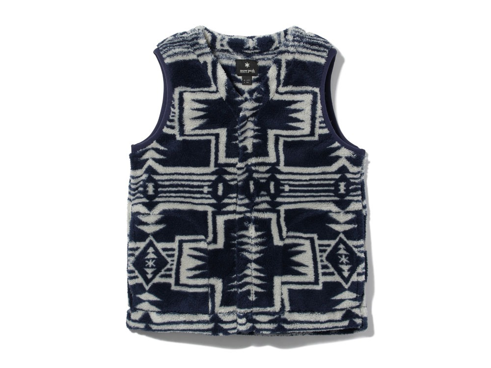 Printed Fleece Vest L Navy×Grey0