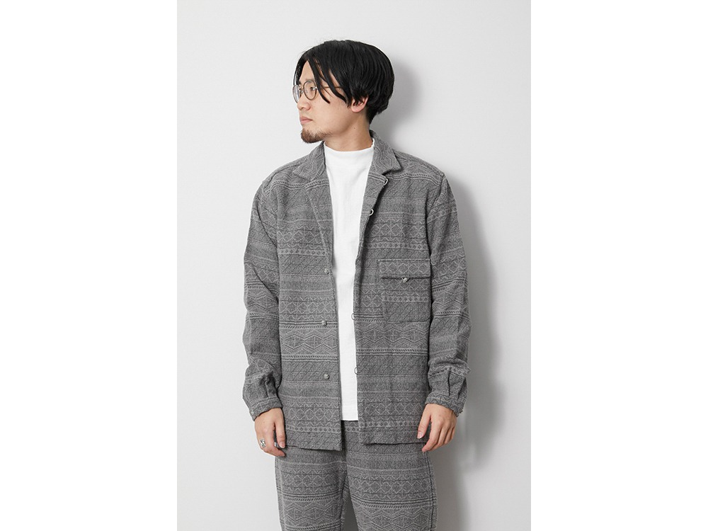 Cotton Silk Jacquard Jacket S Grey